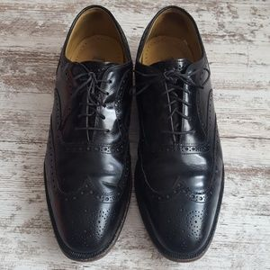 🔵Johnston & Murphy Black Leather Wingtip
